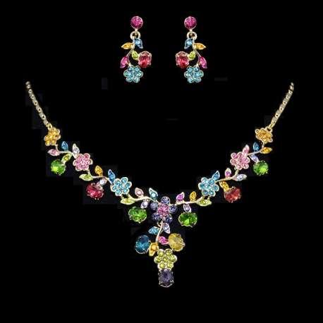 Parure de bijoux mariage FLEURETTE, cristal multicolor