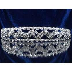Diademe mariage MERVEILLE, cristal, structure ton argent