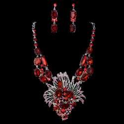 Parure mariage fantaisie FÊTE, cristal rouge, structure rhodiée