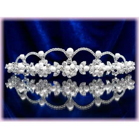 Diademe mariage ARCADES, cristal, structure ton argent