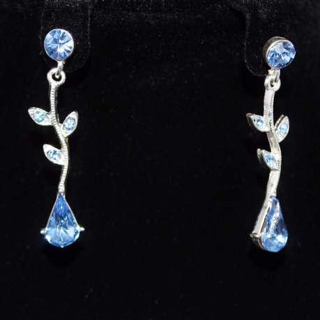 Boucles d'oreilles Neptune, cristal bleu tendresse