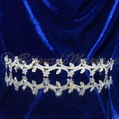 Diademe mariage FLEURS, cristal , ton argent