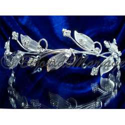 Diademe mariage FEUILLAGE, cristal, structure ton argent