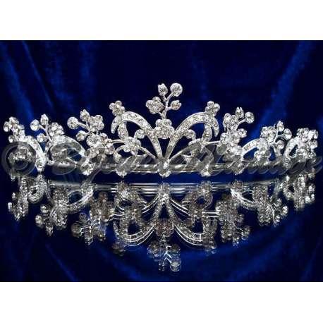 Diademe mariage PAPILLON, cristal, structure ton argent