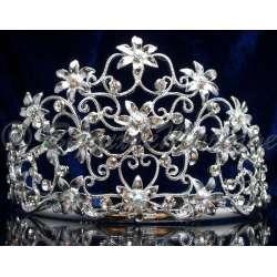 Diademe mariage MISS CAMARGUE, cristal AB, structure ton argent