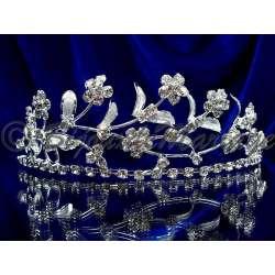 Diademe mariage FRISSON, cristal, structure ton argent