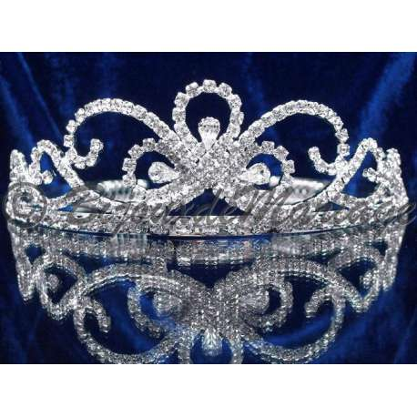Diademe mariage BUTTERFLY, cristal, structure ton argent