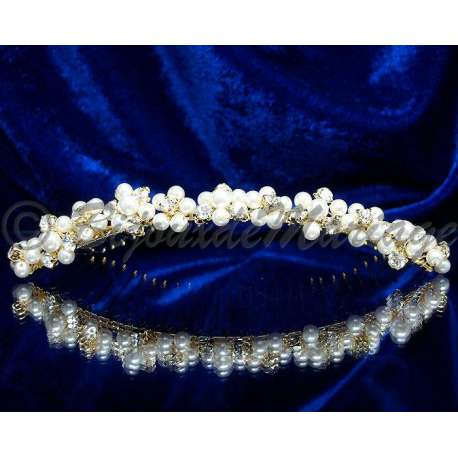 Diademe mariage AUDACE, peigne, cristal et perles, structure ton or