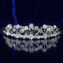 Diademe mariage AVIGNON, cristal, structure ton argent