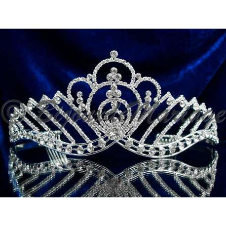 Diademe mariage STAR, cristal, structure ton argent