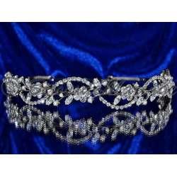 Diademe mariage PASSION, cristal, structure ton argent
