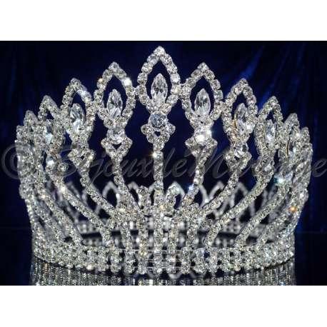 Diademe Miss RADIANCE, cristal, structure ton argent