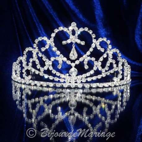 Diademe mariage UNION, cristal, structure ton argent