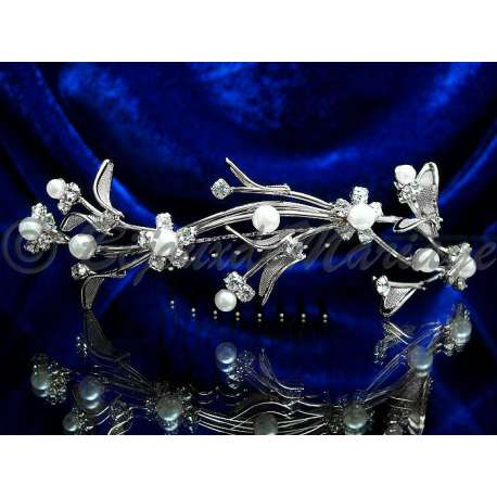 Diademe peigne DEMOISELLE, cristal et perles, structure ton argent