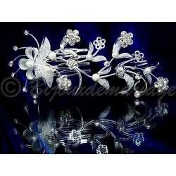Diademe peigne GERBE, cristal et perles, structure ton argent