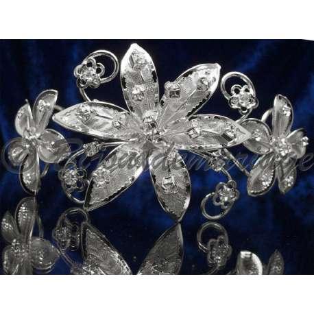 Diademe peigne FLEURS, cristal, structure ton argent