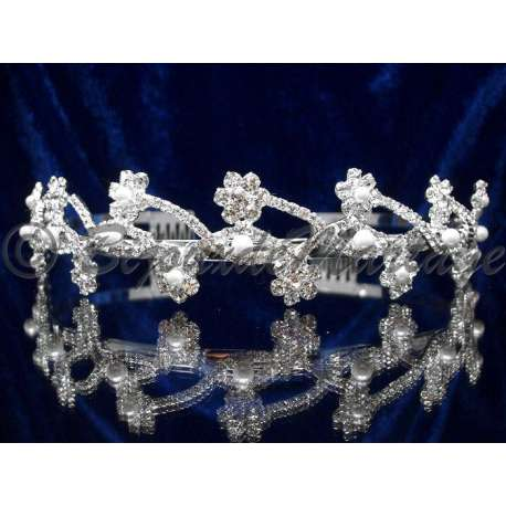 Diademe mariage FLEURS, cristal et perles, structure ton argent