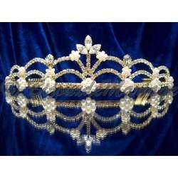 Diademe mariage EXCEPTION, cristal et perles, structure ton or