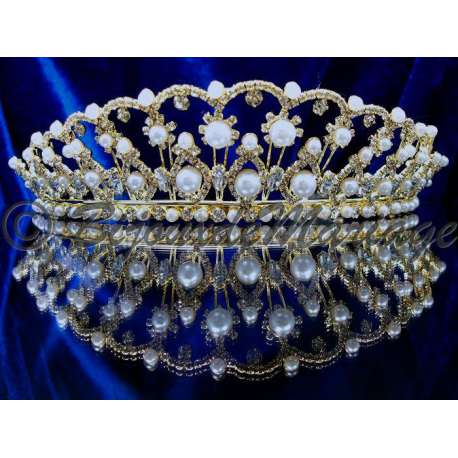 Diademe mariage PROMESSE, cristal et perles, structure ton or