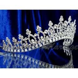 Diademe mariage UNE VIE, cristal et perles, structure ton argent, vue latérale