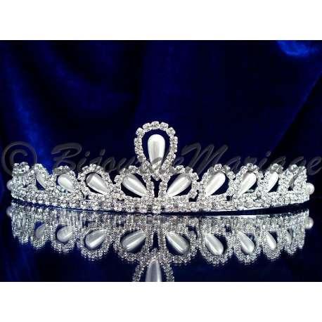 Diademe mariage UNE FÉE, cristal et perles, structure ton argent