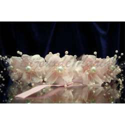 Couronne florale NADÈGE, en tissu rose tendresse