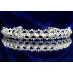 Diademe mariage TORSADE, cristal et perles, structure ton argent