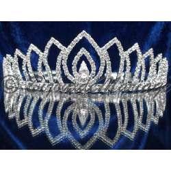 Diademe mariage ARABESQUE, cristal, structure ton argent