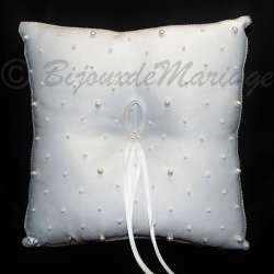 Coussin porte-alliances blanc, perles CPA 001