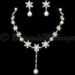Parure bijoux mariage ÉTOILES, cristal et perles, structure ton argent