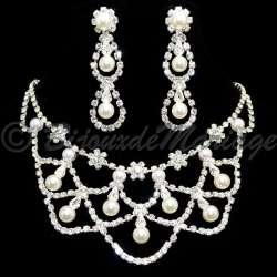 Parure bijoux mariage VALSE, cristal et perles, structure ton argent